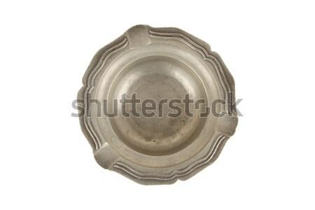 古い 錫 灰皿 孤立した 白 金属 ストックフォト © michaklootwijk