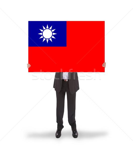 Işadamı büyük kart bayrak Tayvan Stok fotoğraf © michaklootwijk