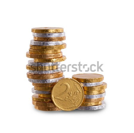 Euro currency, chocolate coins isolated on white Stock photo © michaklootwijk