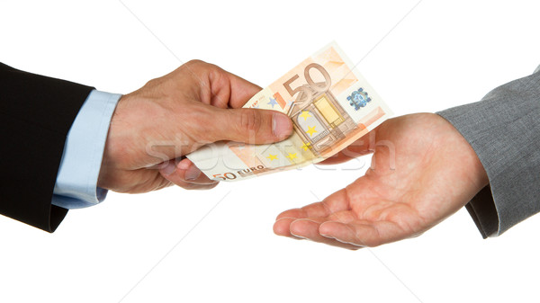 Man giving 50 euro to a woman (business) Stock photo © michaklootwijk