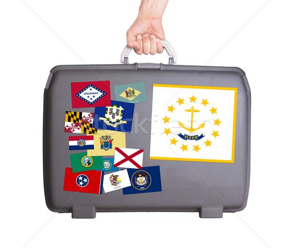 Używany plastikowe walizkę naklejki Rhode Island Zdjęcia stock © michaklootwijk