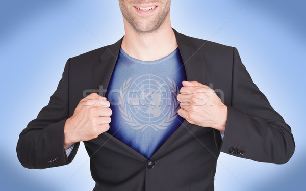 Imprenditore apertura suit shirt bandiera uomo Foto d'archivio © michaklootwijk