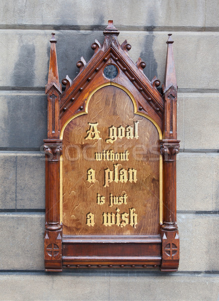 Decorative wooden sign - A goal without a plan is jist a wish Stock photo © michaklootwijk