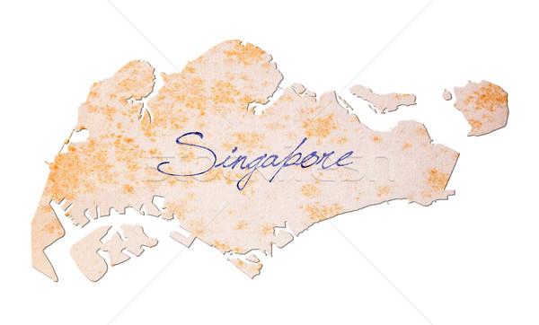 Régi papír kézírás Szingapúr kék tinta oktatás Stock fotó © michaklootwijk