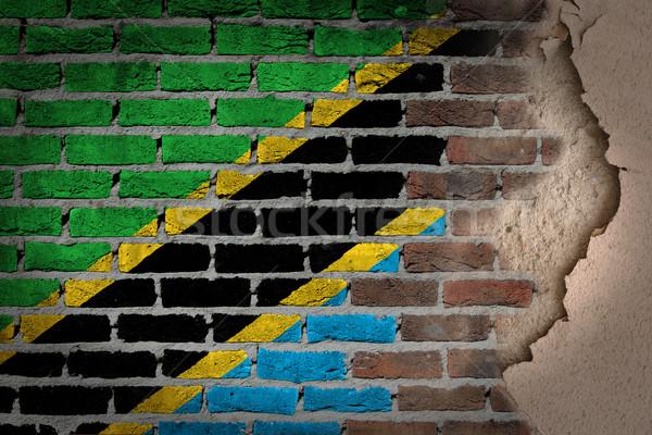 Sötét téglafal tapasz Tanzánia textúra zászló Stock fotó © michaklootwijk