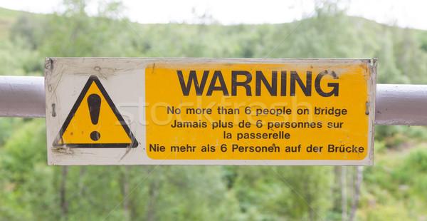 Warning sign at a bridge Stock photo © michaklootwijk