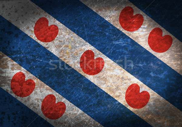Old rusty metal sign with a flag Stock photo © michaklootwijk