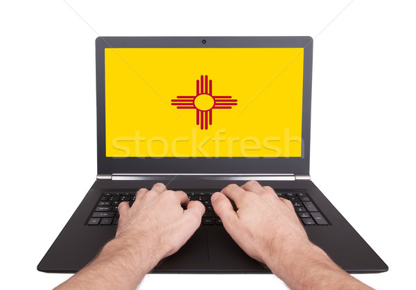 Hands working on laptop, New Mexico Stock photo © michaklootwijk