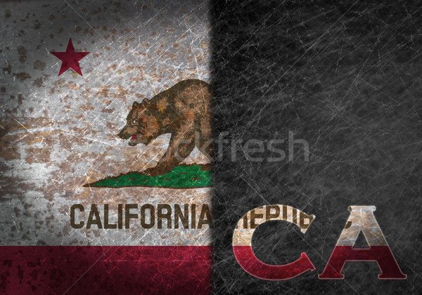 Old rusty metal sign with a flag and US state abbreviation Stock photo © michaklootwijk