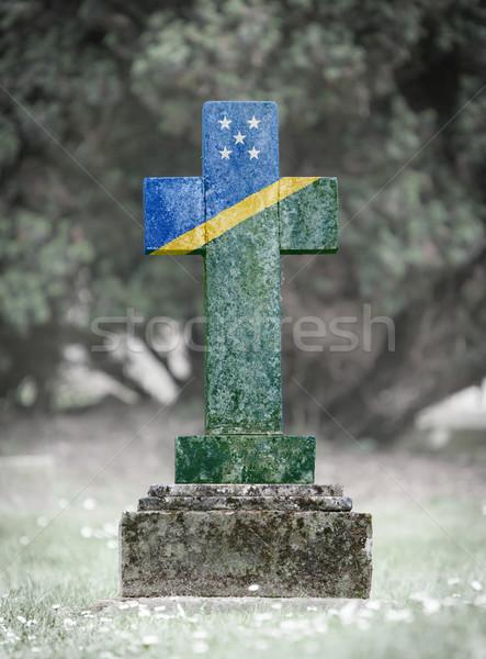 Lápida sepulcral cementerio Islas Salomón edad capeado bandera Foto stock © michaklootwijk