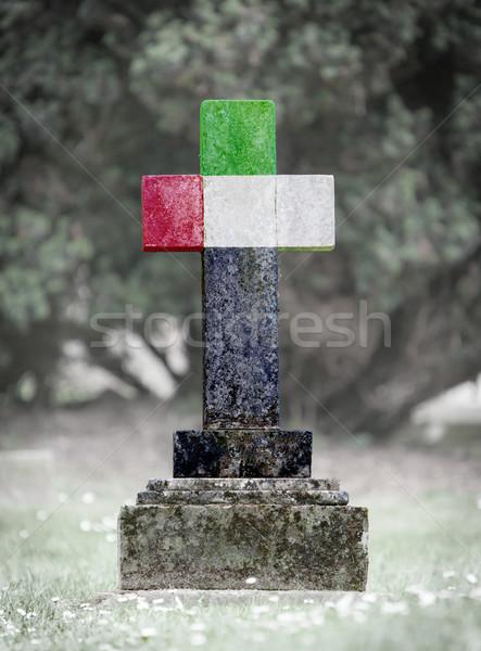 Pierre tombale cimetière vieux patiné pavillon pierre Photo stock © michaklootwijk