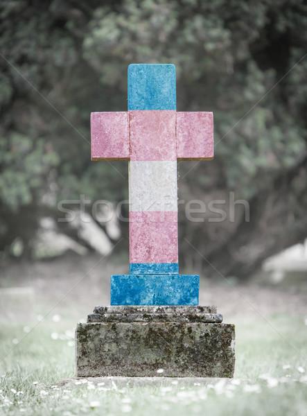 öreg sírkő temető fű háttér keret Stock fotó © michaklootwijk