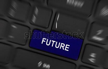 Azul http botão preto teclado tecnologia Foto stock © michaklootwijk
