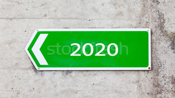 Green sign - New year - 2020 Stock photo © michaklootwijk