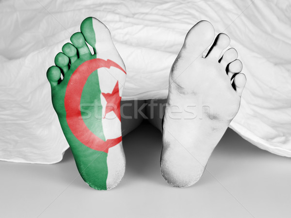 Lijk witte vel vlag Algerije vrouw Stockfoto © michaklootwijk