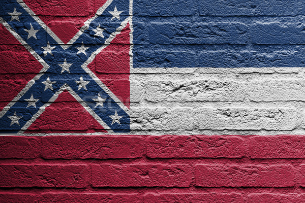 Brick wall with a painting of a flag, Mississippi Stock photo © michaklootwijk
