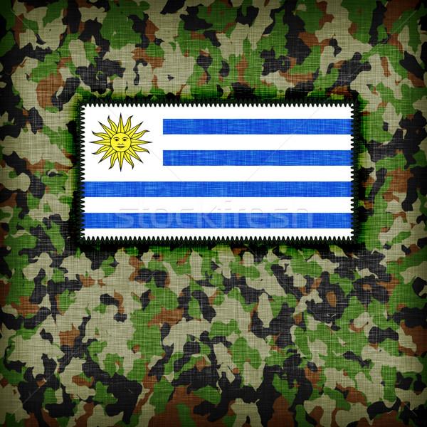 Kamuflaż uniform Urugwaj banderą streszczenie zielone Zdjęcia stock © michaklootwijk