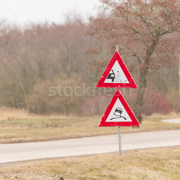 Stock photo: Roadworks signs