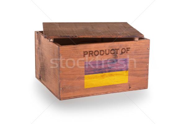 Stock fotó: Fából · készült · láda · izolált · fehér · termék · Ukrajna