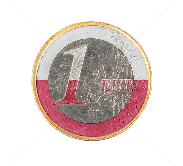 Stock fotó: Euro · érme · izolált · fehér · zászló · Lengyelország