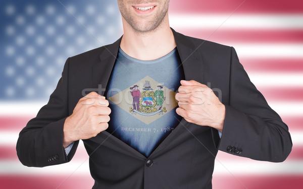 Zakenman opening pak shirt vlag USA Stockfoto © michaklootwijk