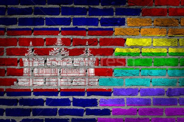 Foto stock: Escuro · parede · de · tijolos · direitos · Camboja · textura · bandeira
