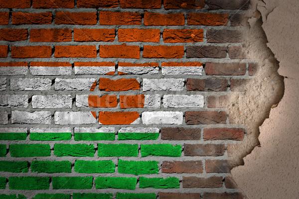 темно кирпичная стена штукатурка Нигер текстуры флаг Сток-фото © michaklootwijk