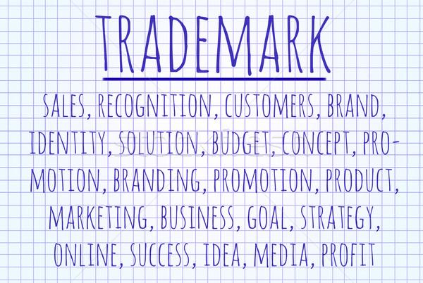 Handelsmerk woordwolk geschreven stuk papier business Stockfoto © michaklootwijk
