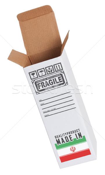 Exportar produto Irã papel caixa Foto stock © michaklootwijk