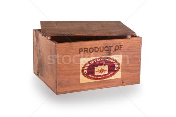 Stock fotó: Fából · készült · láda · izolált · fehér · termék · fa