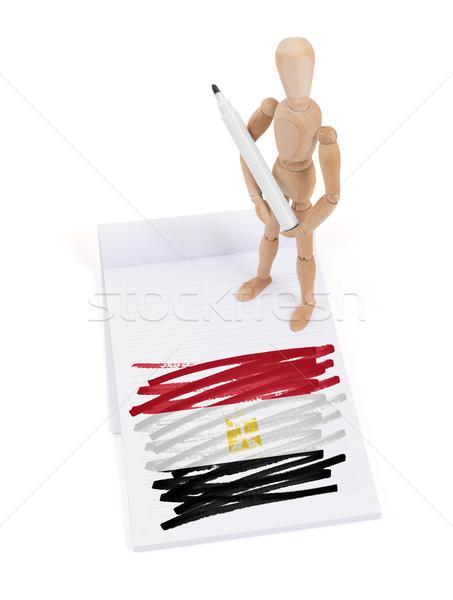 Manekin rysunek Egipt banderą papieru Zdjęcia stock © michaklootwijk
