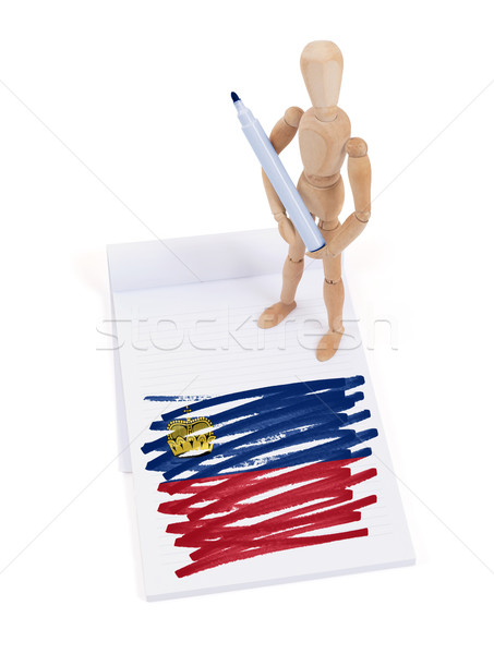 Manekin rysunek Liechtenstein banderą papieru Zdjęcia stock © michaklootwijk