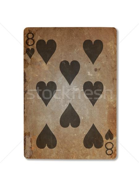Vecchio giocare carta otto cuori isolato Foto d'archivio © michaklootwijk