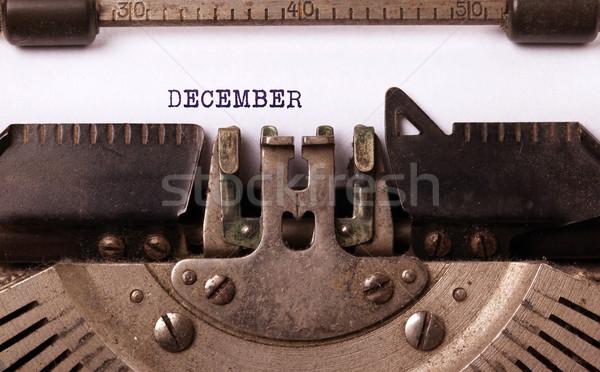 Edad máquina de escribir diciembre vintage papel Foto stock © michaklootwijk