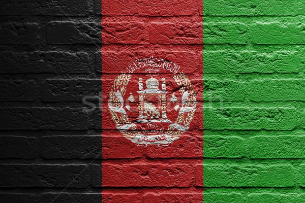 Téglafal festmény zászló Afganisztán izolált tégla Stock fotó © michaklootwijk