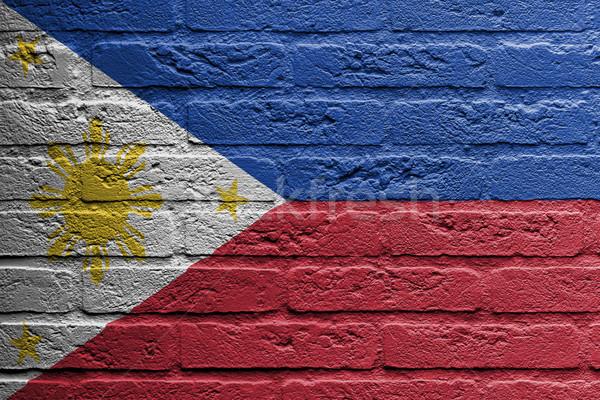 レンガの壁 絵画 フラグ フィリピン 孤立した レンガ ストックフォト © michaklootwijk
