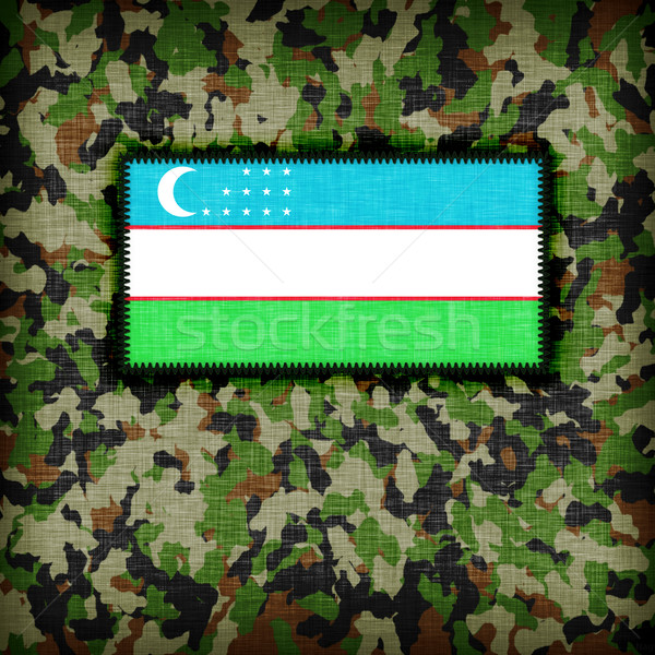Camouflage uniform Oezbekistan vlag abstract groene Stockfoto © michaklootwijk