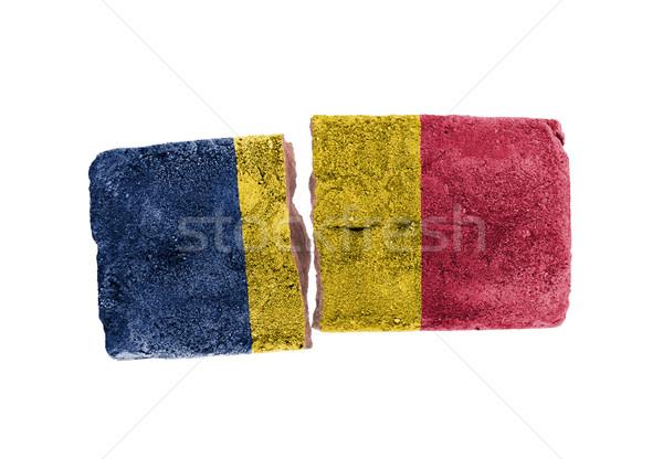 áspero roto ladrillo aislado blanco bandera Foto stock © michaklootwijk