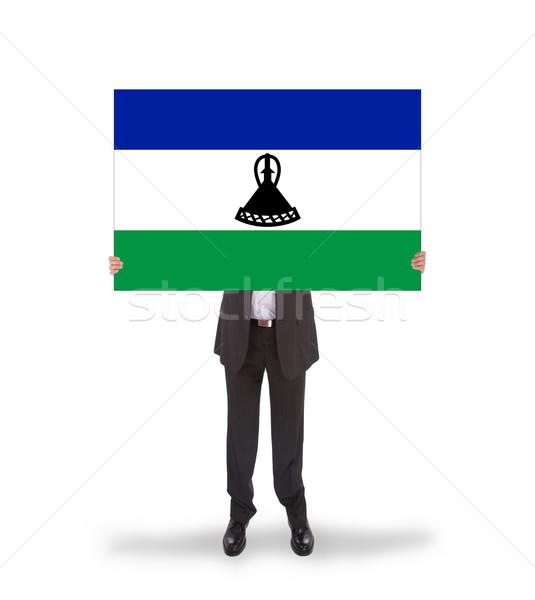 Foto d'archivio: Imprenditore · grande · carta · bandiera · Lesoto