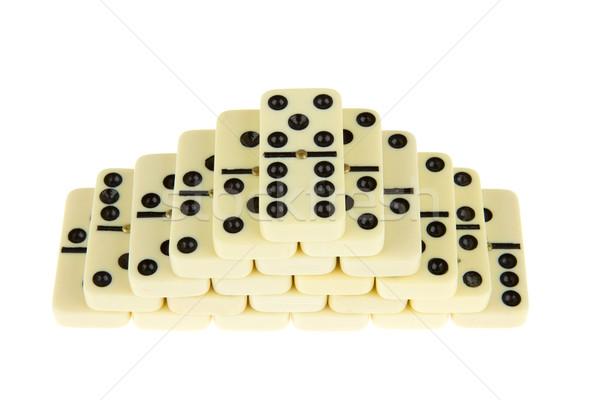 Domino witte speelgoed keten baksteen Stockfoto © michaklootwijk