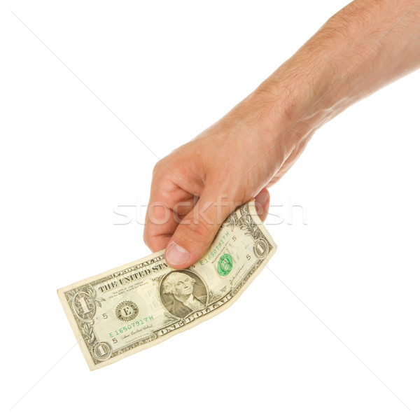 Man holding a one dollar bill in his hand Stock photo © michaklootwijk