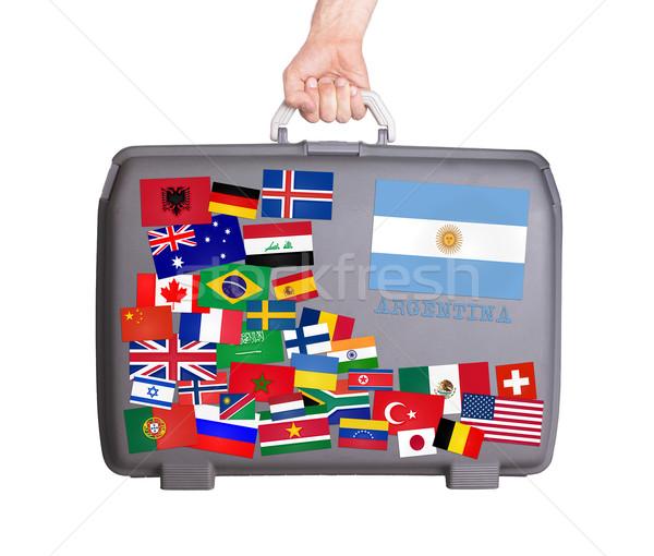 Használt műanyag bőrönd matricák kicsi nagy Stock fotó © michaklootwijk