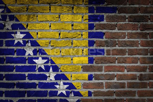 Foto stock: Oscuro · pared · de · ladrillo · Bosnia · Herzegovina · textura · bandera · pintado