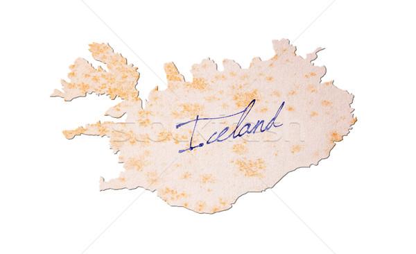 古い紙 手書き アイスランド 青 インク 紙 ストックフォト © michaklootwijk