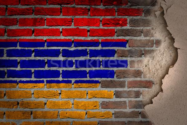 Escuro parede de tijolos gesso Armênia textura bandeira Foto stock © michaklootwijk