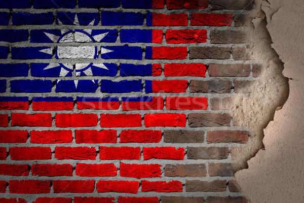 Karanlık tuğla duvar sıva Tayvan doku bayrak Stok fotoğraf © michaklootwijk