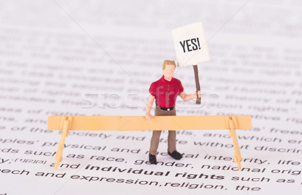 Tiny person demonstrating for his rights  Stock photo © michaklootwijk