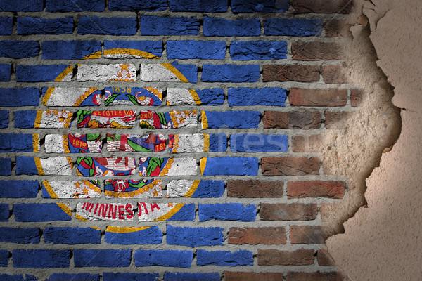 Escuro parede de tijolos gesso Minnesota textura bandeira Foto stock © michaklootwijk