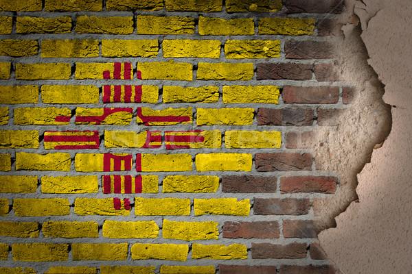 Sötét téglafal tapasz Új-Mexikó textúra zászló Stock fotó © michaklootwijk