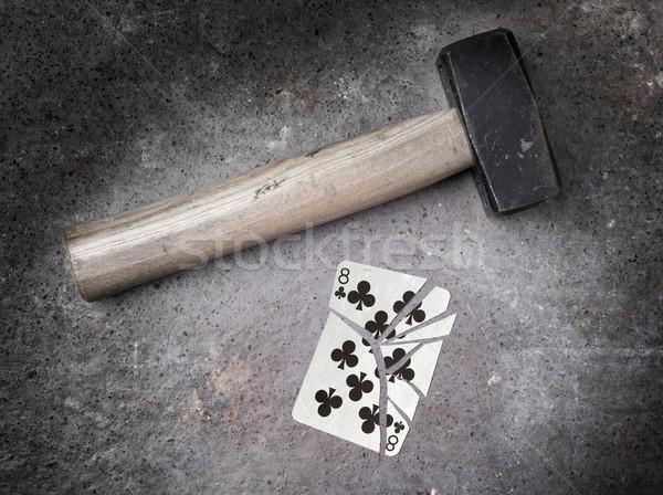 молота сломанной карт восемь Vintage посмотреть Сток-фото © michaklootwijk
